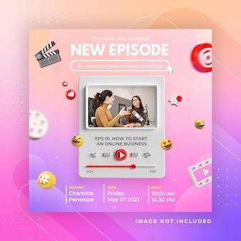 Werbung für geschäftsseiten mit 3d-rendertelegramm für instagram-postvorlage