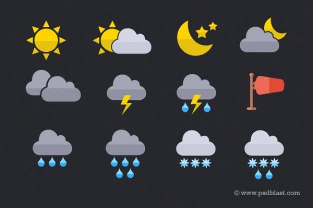 Wetter-icons auf flachen stil