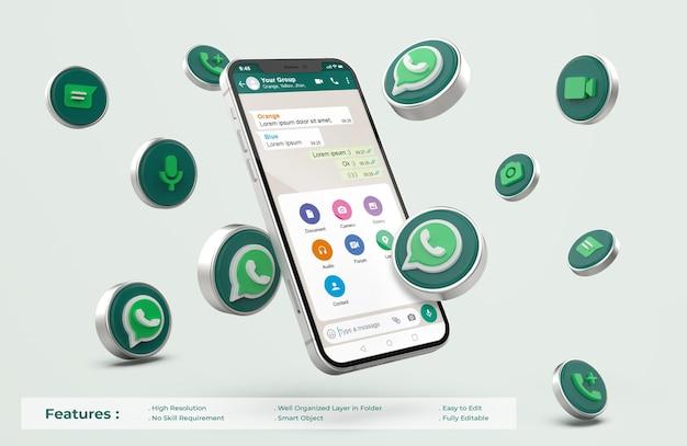 Whatsapp auf silber handy mockup