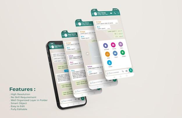 Whatsapp messenger-vorlage auf handy und ui-uux-app-präsentationsmodell