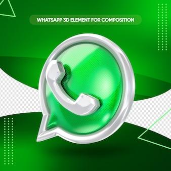 Whatsapp-symbol 3d-rendering für die komposition
