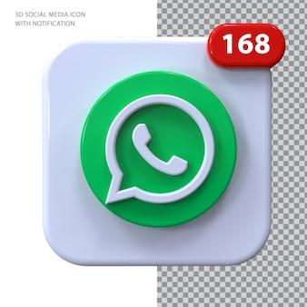 Whatsapp-symbol mit benachrichtigung 3d-konzept