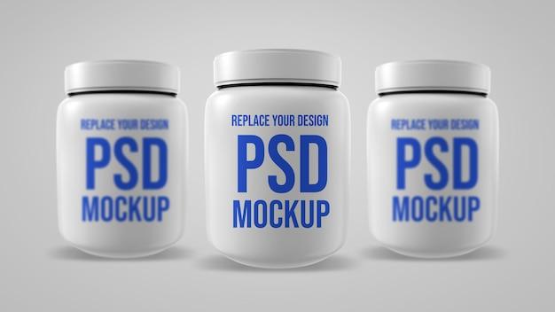 Whey bottle mockup 3d rendering design