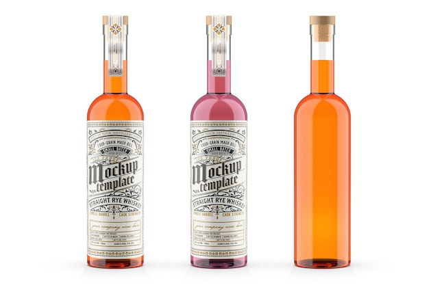 Whisky glasflasche mockup design in 3d-rendering