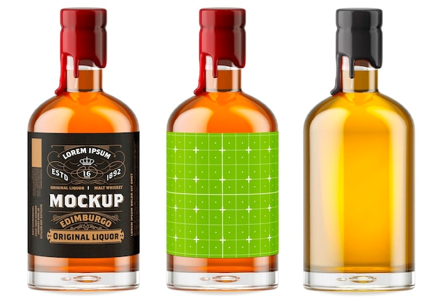 Whisky glasflasche mockup design isoliert