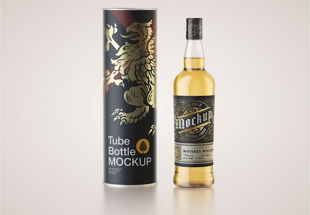 Whiskyflasche mit paper tube mockup