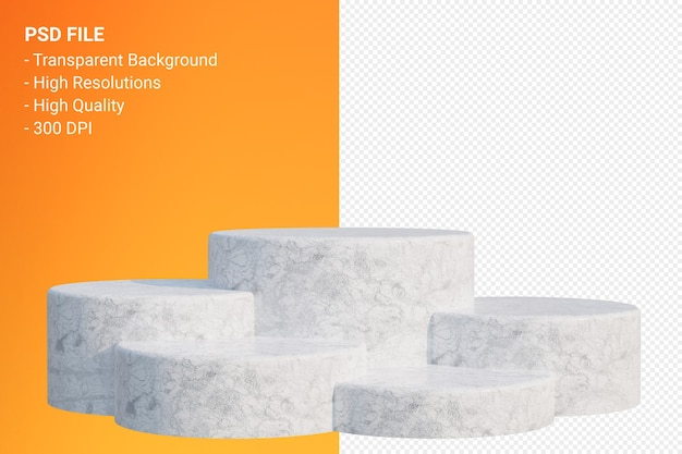 White marble podium minimal auf transparent für kosmetische produktpräsentation