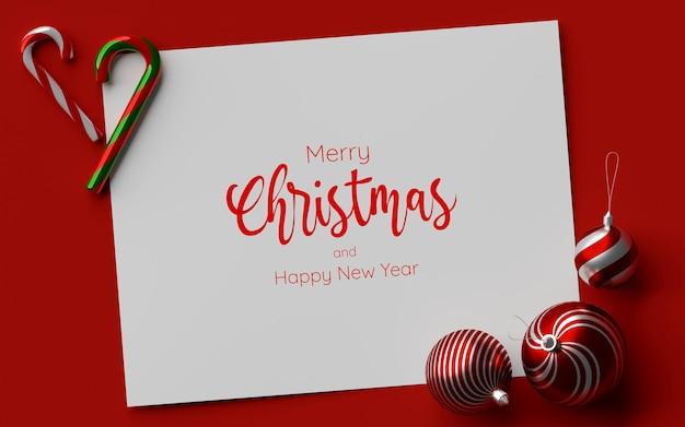 Whitepaper-modell auf rotem hintergrund mit weihnachtsschmuck, 3d-darstellung