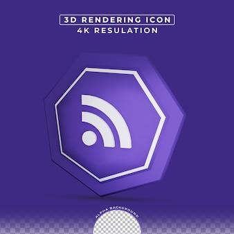 Wi-fi-symbol für soziale netzwerke 3d effekt-rendering