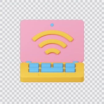 Wifi-verbindungssymbol isoliert auf weißem 3d-gerenderten bild