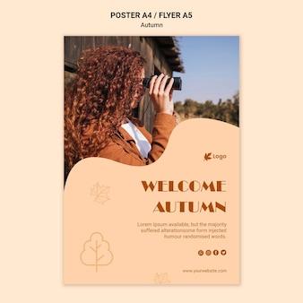 Willkommen herbst poster vorlage