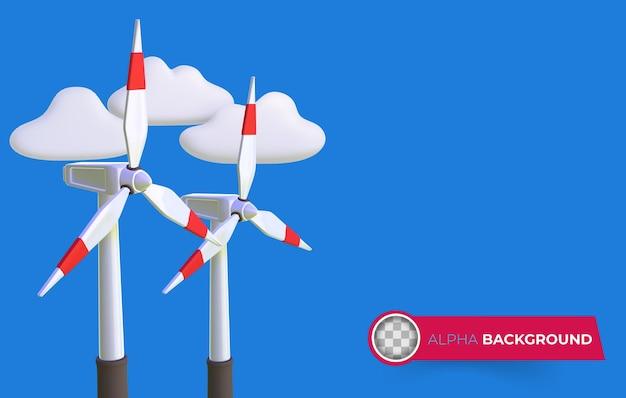 Windmühle mit grüner energie. 3d-darstellung