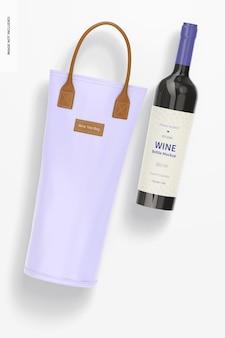 Wine tote bag mockup, ansicht von oben