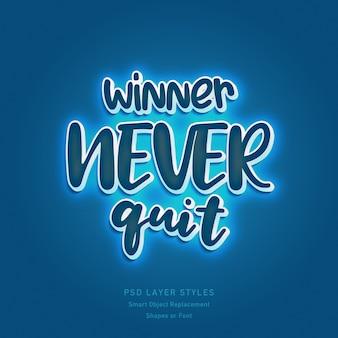 Winner never quit quote mit 3d-textstil-effekt-psd für formen oder schriftarten