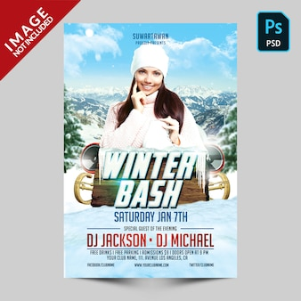 Winter bash party flyer vorlage