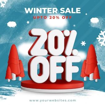 Winter sale bis zu 20 prozent rabatt auf quadratisches vorlagen-banner-design