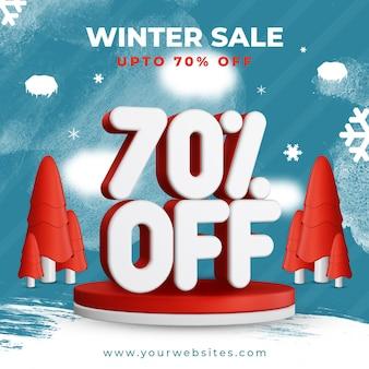 Winter sale bis zu 70 prozent rabatt auf quadratisches vorlagen-banner-design