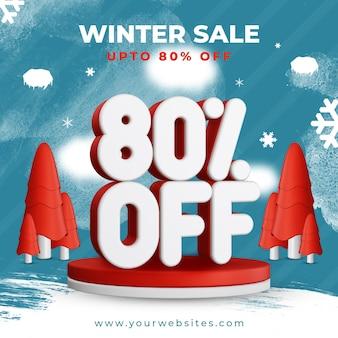 Winter sale bis zu 80 prozent rabatt auf quadratisches vorlagen-banner-design
