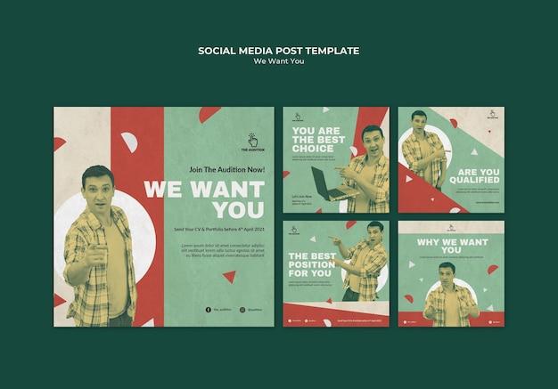 Wir möchten, dass sie social-media-beiträge verfassen