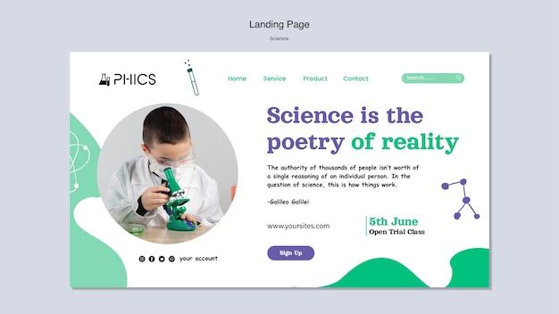 Wissenschafts-landingpage mit foto