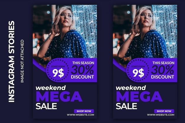 Wochenend mega sale social web banner premium psd