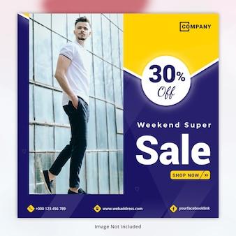 Wochenend-super sale-vorlage für soziale medien