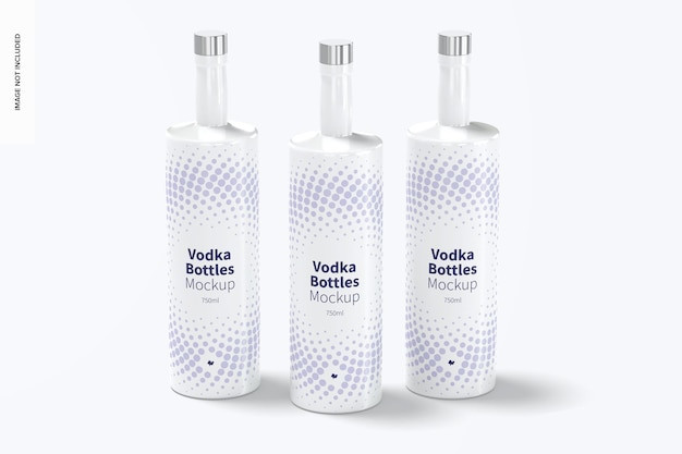 Wodka bottles set mockup