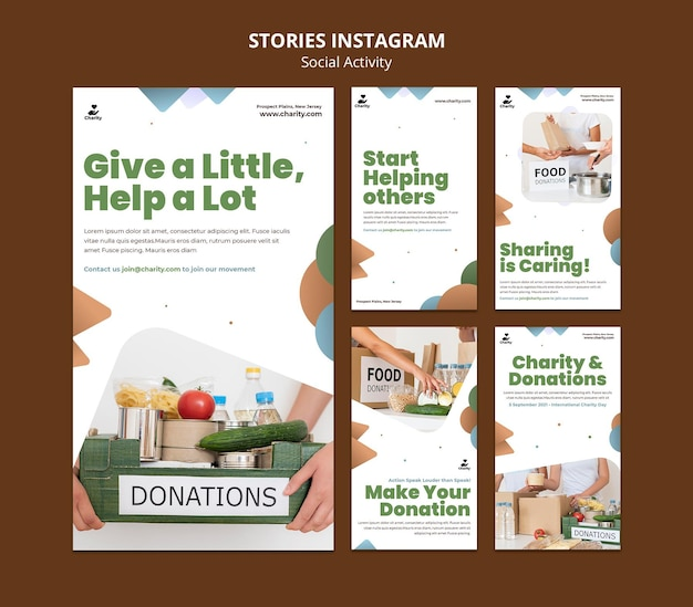 Wohltätigkeitsaktivitäten instagram geschichten