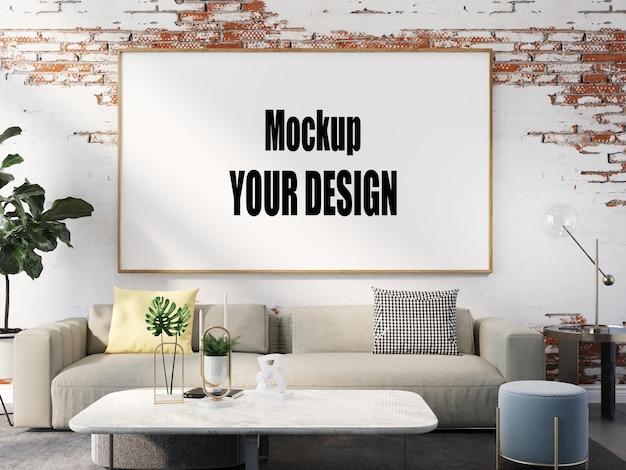 Wohnzimmer interieur hausboden vorlage hintergrundrahmen mock-up design kopie raum 3d-rendering