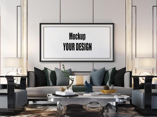 Wohnzimmer interieur hausboden vorlage hintergrundrahmen mockup design kopie raum 3d-rendering