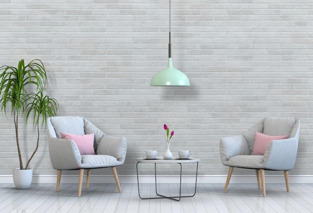 Wohnzimmer interieur im modernen stil mit sessel und dekorationen.