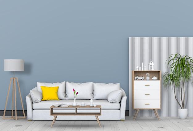 Wohnzimmer interieur im modernen stil mit sofa und dekorationen.