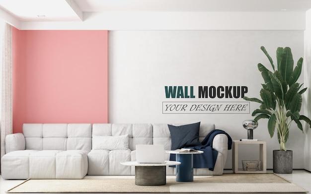 Wohnzimmer mit großem weißen sofawandmodell