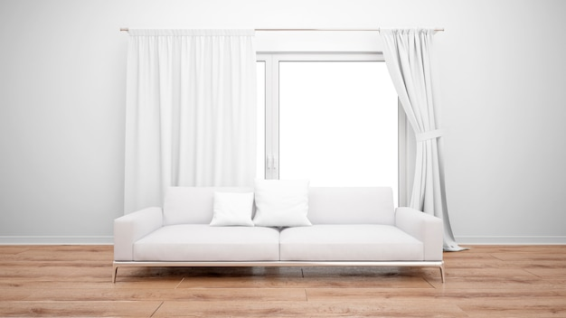 Wohnzimmer mit minimalistischem sofa und großem fenster mit weißen vorhängen