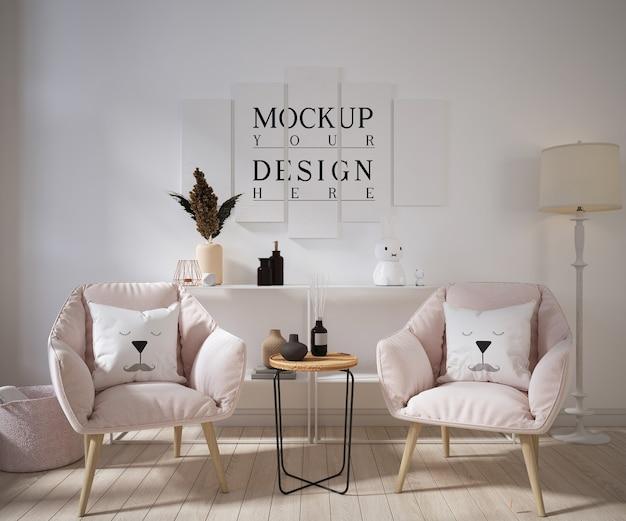 Wohnzimmer mit modellplakat und sesseln