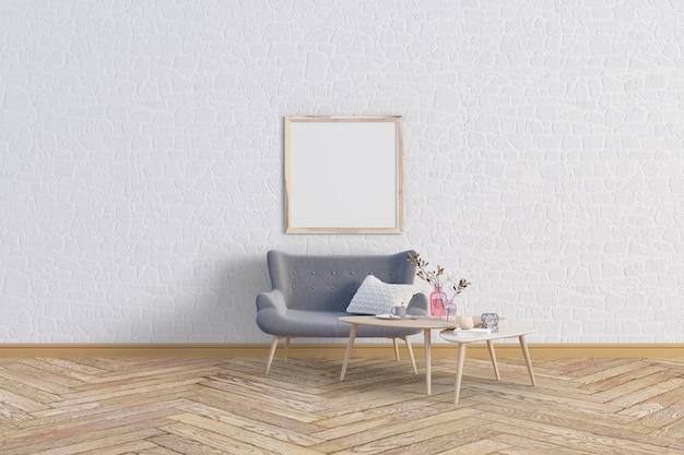 Wohnzimmer mit reizendem sofa und modellrahmen