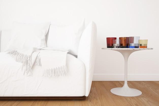 Wohnzimmer mit sofa-modell und dekorationselementen