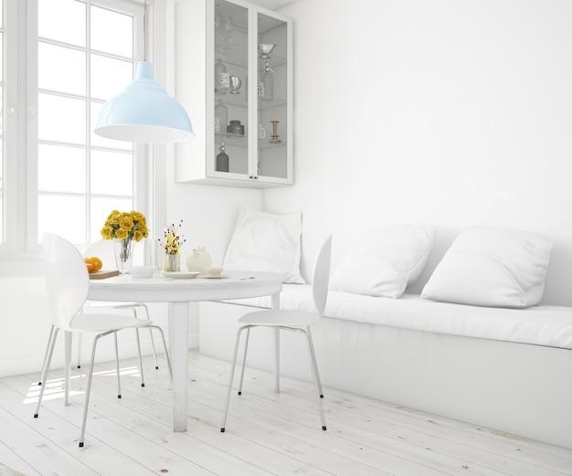 Wohnzimmer mit tisch und sofa modell