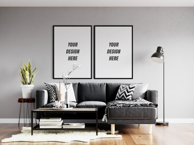 Wohnzimmer poster frame & wall mockup