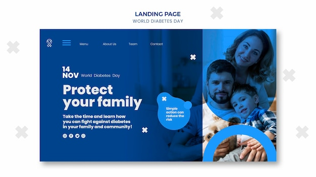 World diabetes day landing page vorlage