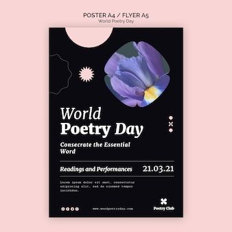 World poetry day event flyer vorlage