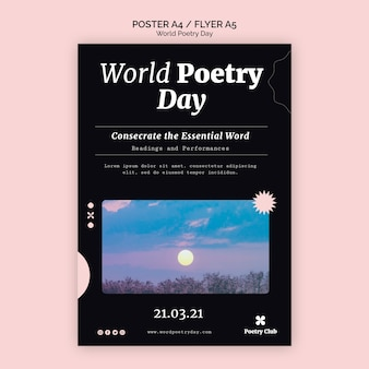 World poetry day event flyer vorlage