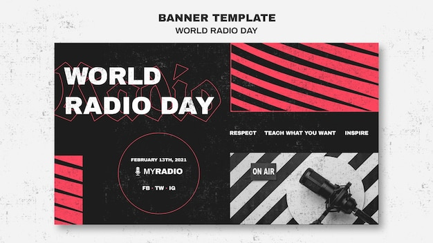 World radio day banner vorlage