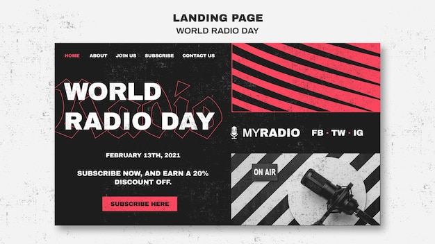 World radio day landing page vorlage