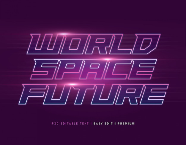 World space future text effect mockup