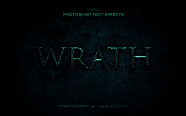 Wrath text effect mockup