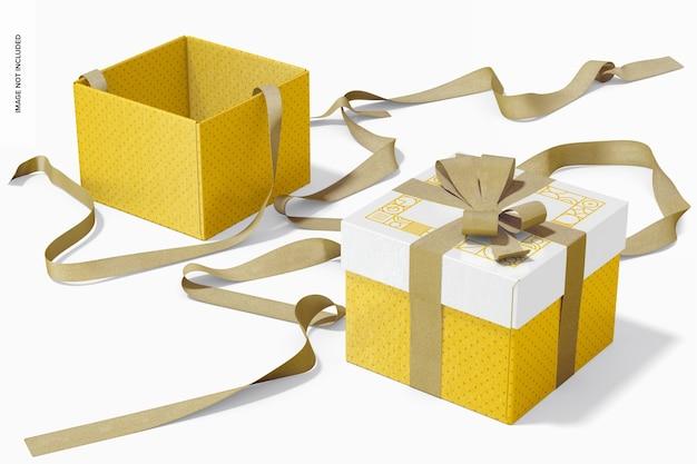Würfel-geschenkboxen mit bandmodell, geöffnet und geschlossen