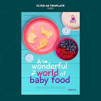Wunderbare vorlage für babynahrungsflyer