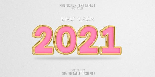 Wunderschönes golden 2021 3d-textstil-effekt-rendering
