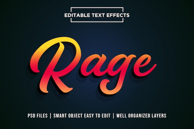 Wut 3d text style effekt premium psd